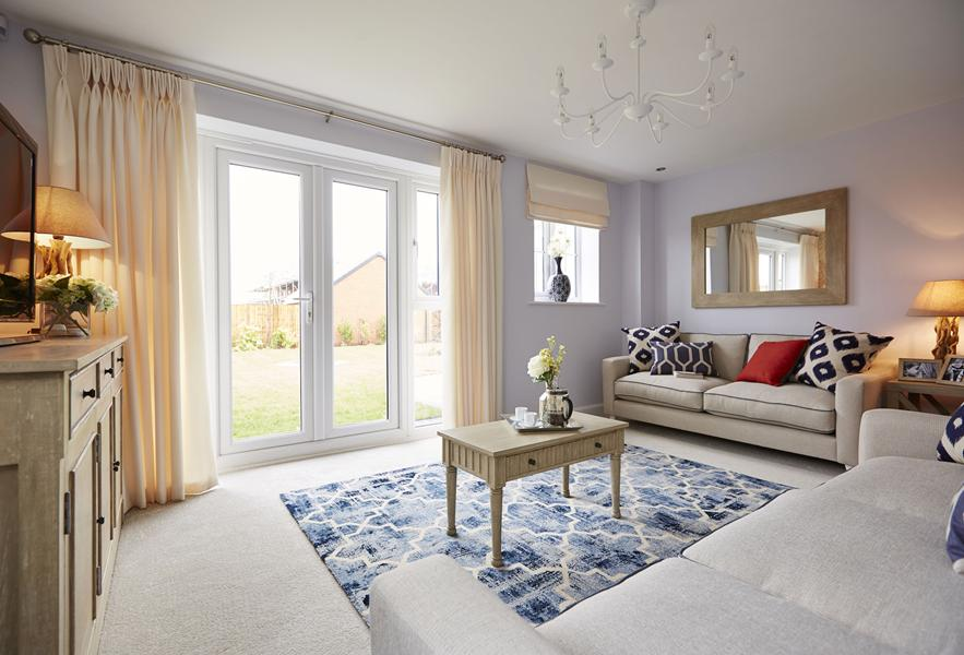Honeysuckle Grange Thame show home lounge with French doors