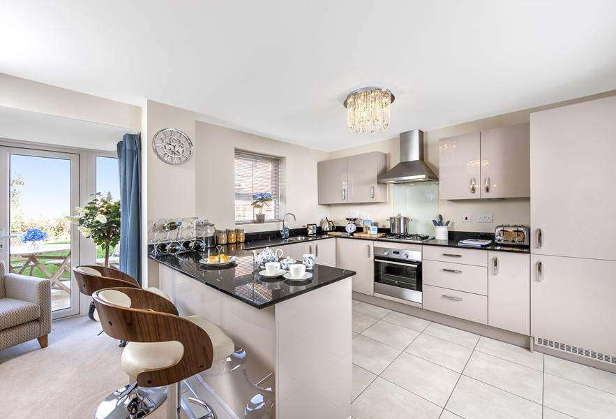 The Harborough show home kitchen at Bishop Park, Henfield