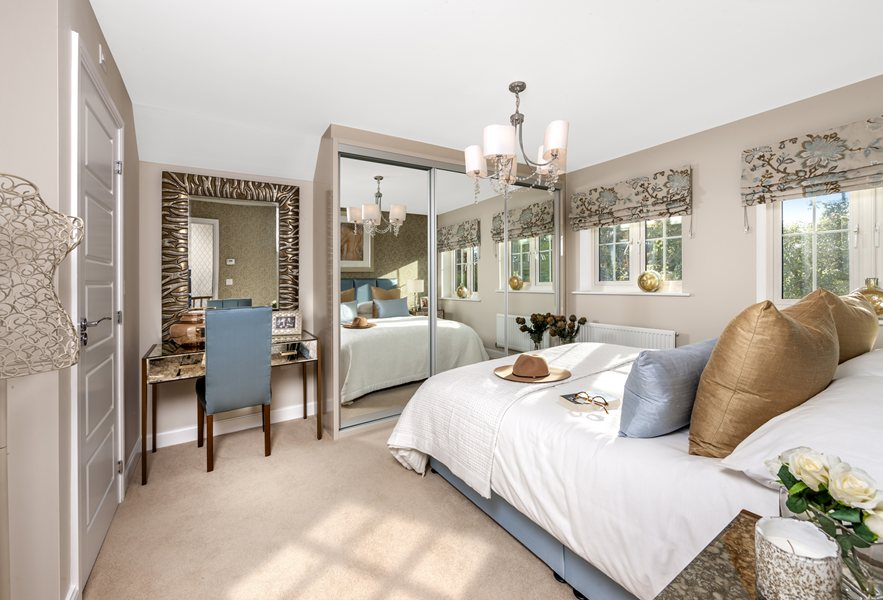 The Harborough show home`s master bedroom at Bishop Park, Henfield